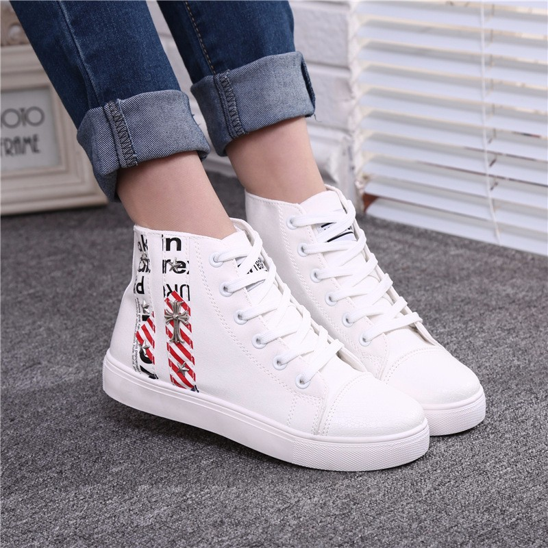 Flat High Top Canvas Women Shoes 17 Colors Spring Autumn Women's Flats Espadrilles Lace Up Casual Shoes Foot 22-24.5CM YD87 (21)