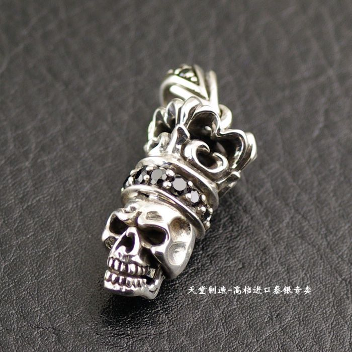 Thailand imported 925 sterling silver, black Zircon skull Silver Pendant 925 sterling silver zircon double eagle head imported silver ring