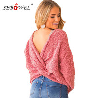 SEBOWEL Long Sleeve Twist Back Woman Sweaters Pullovers Popcorn Knit Top Female Casual Warm Cozy Backless Sweater 2019 Winter