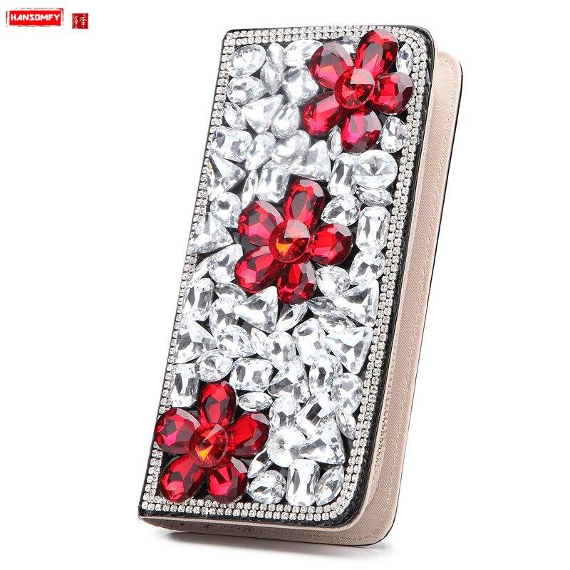 New luxury fashion women wallet female long section crocodile pattern diamonds card holder coin purses phone clutch bag wallets