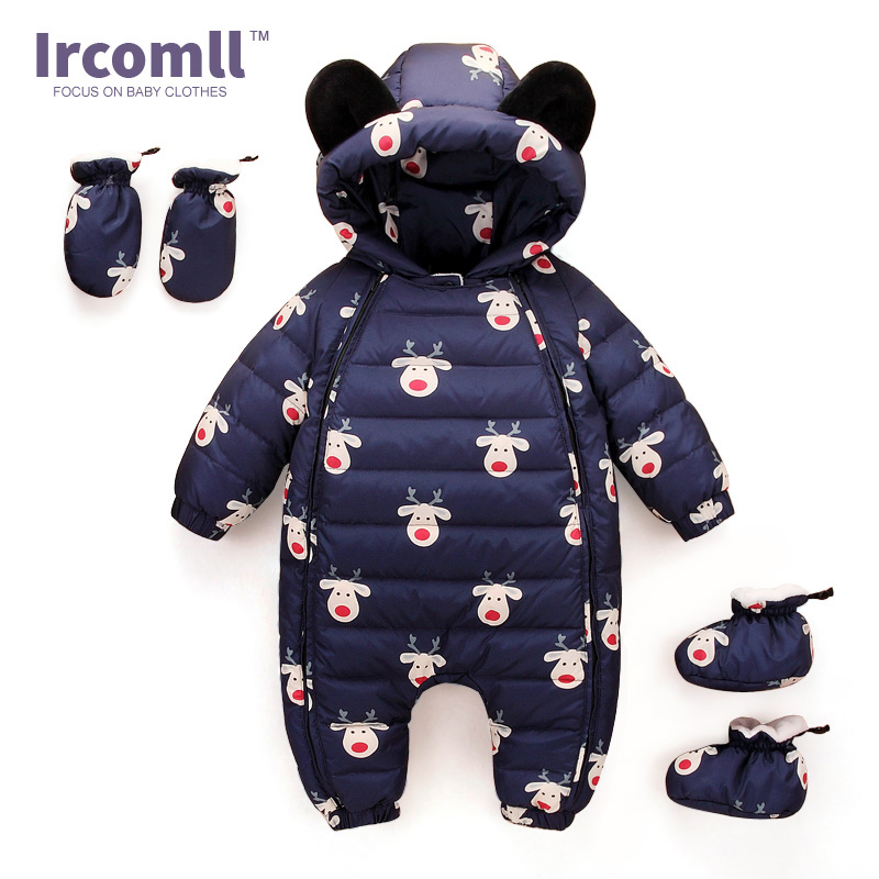 New Year Baby Romper Duck Down Newborn Clothing Bear Hooded Boys Girls Overalls Winter Wear Infant one-pieces Clothes hhtu 2017 infant romper baby boys girls jumpsuit newborn clothing hooded toddler baby clothes cute elk romper baby costumes