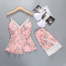 купить Herislim Silk Pajama Set Sleepwear Women Summer Pyjama Sexy Lace Floral Cami And Shorts 2Pcs Pajamas Home Clothes with Chest Pad по цене 623.64 рублей