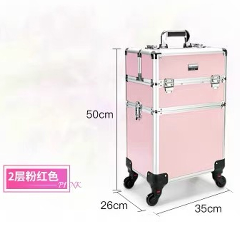 ใหม่ผู้หญิงรถเข็นเครื่องสำอางกระเป๋าล้อเล็บแต่งหน้ากล่องเครื่องมือ, ที่ถอดออกได้พับความงามกล่องกระเป๋าเดินทางกระเป๋าเดินทางกระเป๋าเดินทาง-ใน กระเป๋าเดินทางแบบลาก จาก สัมภาระและกระเป๋า บน   2