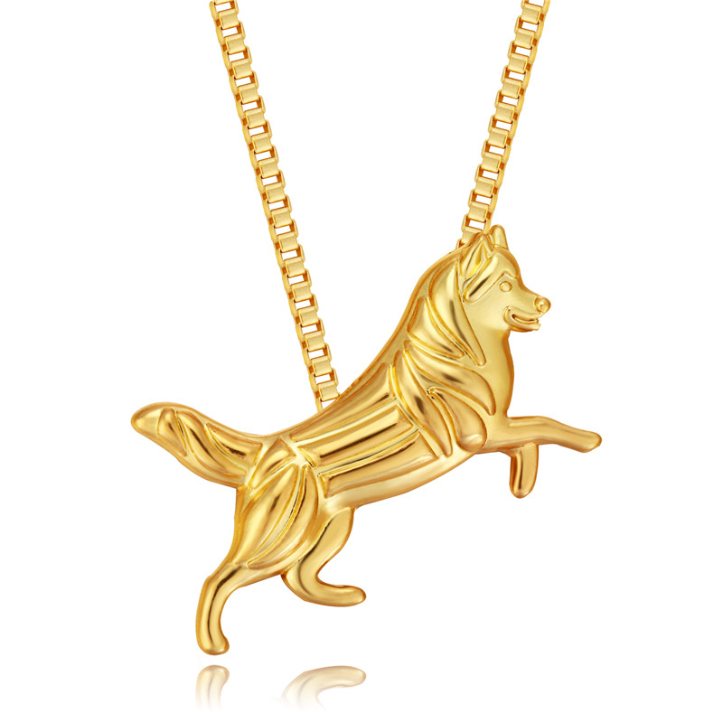 Siberian Husky Dog Pendant Necklaces Gold-color Handmade Hollow Charms Women Christmas Jewelry & Cloth Accessories 2017