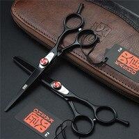 Kasho Black Hair Scissors 6 0 Inch Screw Professional High Quality Barber Hairdressing Scissors Thinning Shears