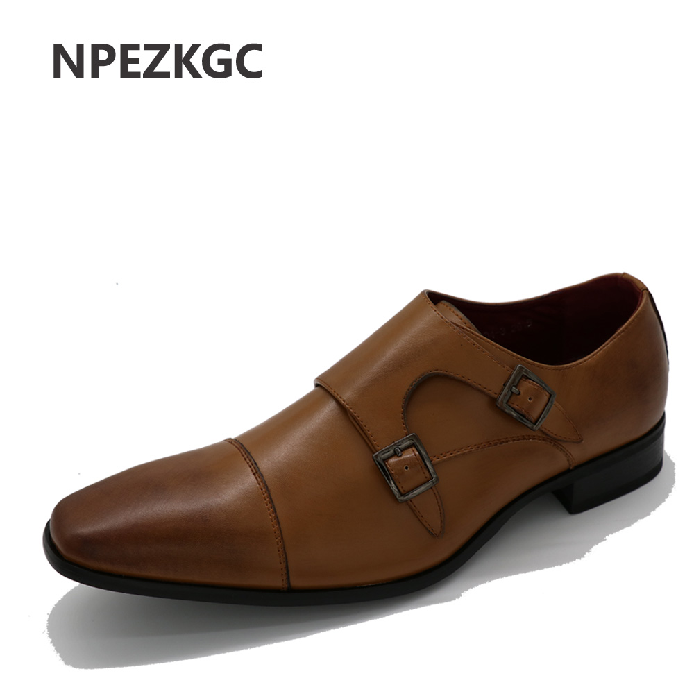 NPEZKGC Men shoes luxury brand designer genuine leather formal wedding dress oxfords derby flats shoes zapatos hombre