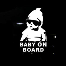 2019 New 14*9CM BABY ON BOARD Cool Rear Reflective Sunglasses Child Car Stickers Warning Decals Black/Silver CT-465(China)