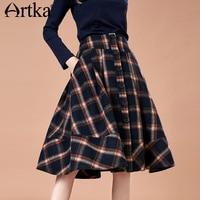 ARTKA 2018 Autumn New Fashion Women A line Vintage Plaid Skirt with Pockets S XL QA10785Q