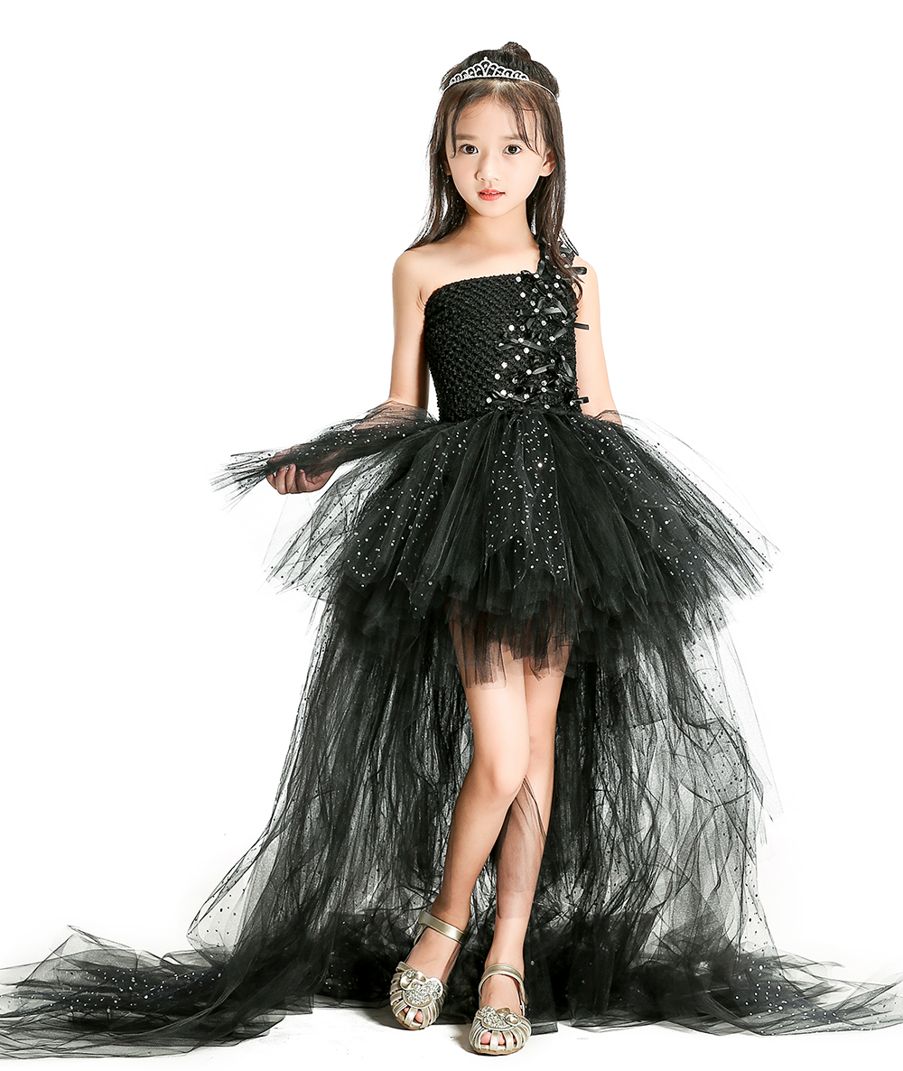 Shinning Black Girls Party Dresses with Train Tulle Ribbon Bow Lace Baby Girl Tutu Dresses for Birthday Party Baby Girls Clothes baby girls dresses 100