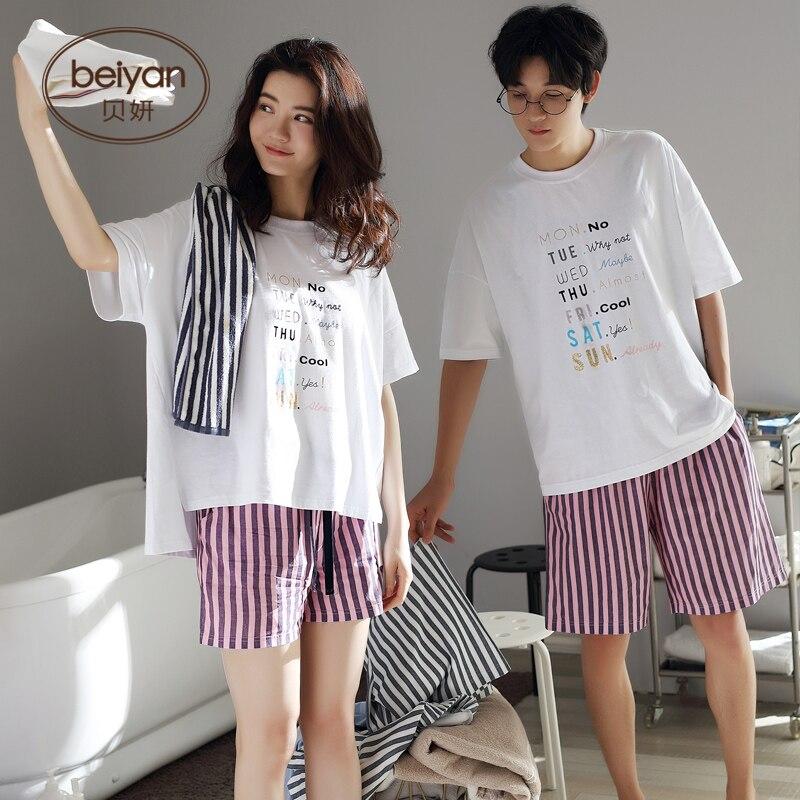Любители Одежда для Летние пижамы комплекты с круглым вырезом пижамы Пары одеяло Пижама Mujer письмо рукав хлопок милые пижамы женские