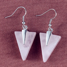 Trendy-beads Simple Style Silver Plated Natural Rose Pink Quartz Triangle Shape Earrings For Women Charm Jewelry цена в Москве и Питере