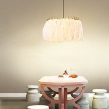 Jaxlong LED Pendant Light Romantic Dreamlike Feather Droplight Bedroom Hanging Lamp Living Room Restaurant Lamparas Adjustable недорого