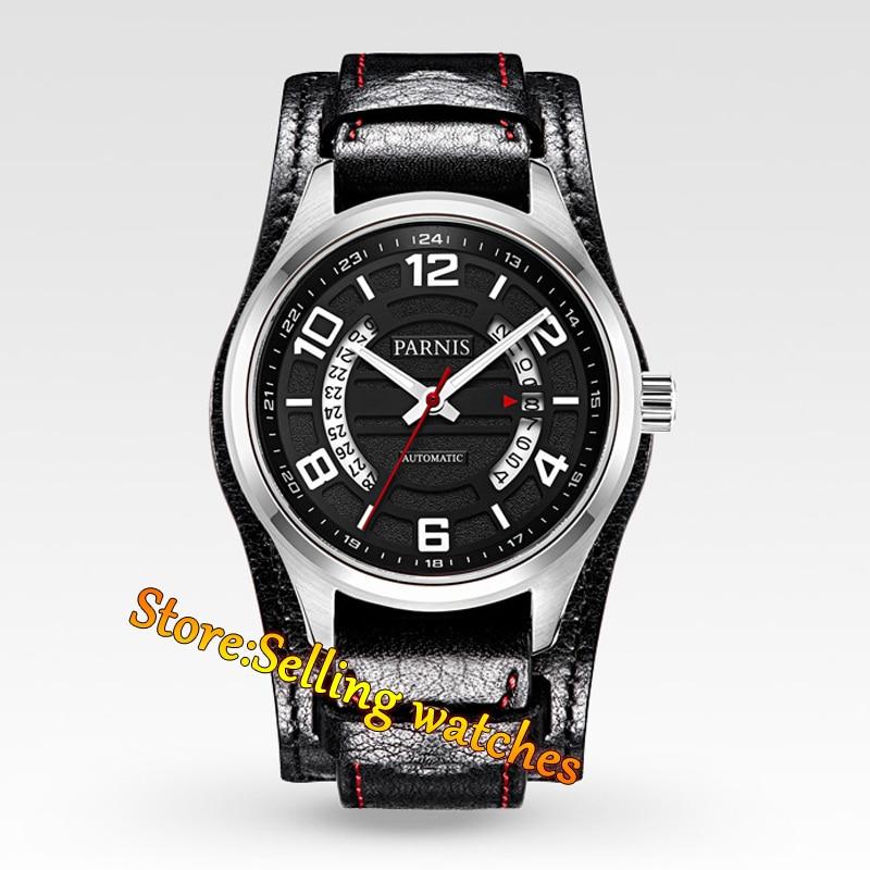 где купить Parnis black dial 43mm Sapphire Glass miyota Automatic mens steel Watch по лучшей цене