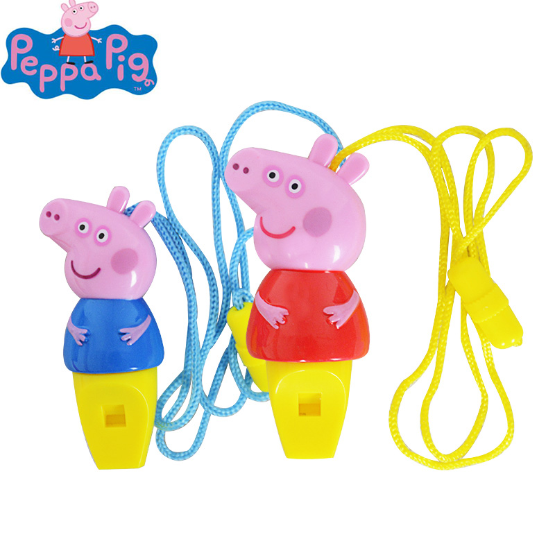 Hot Sale 1pcs Peppa Pig Cartoon Toy Figure Whistle Anime Peppa Pig 8cm Musical Action Figure Toy Kids Birthday Party Gifts Toys & Hobbies