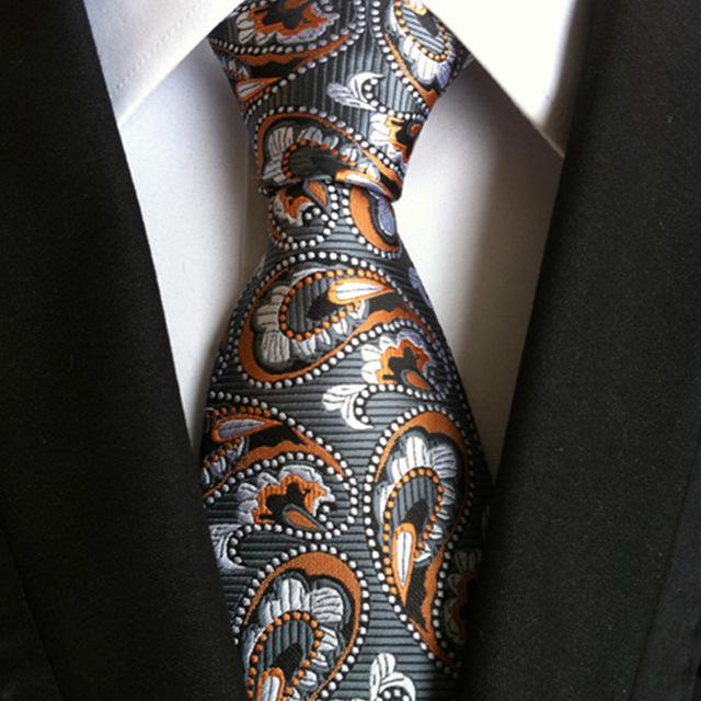HOOYI Neck Ties for Men Party Flower Silk Tie Plaid Business Necktie Wedding Gift Cravat Christmas accessories