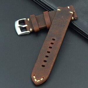 Image 3 - Retro Lederen 18 19 20 21 22mm mannen uitstekende Horloge Band Strap Voor Seiko Mido voor Omega fossiele Riem Armband horlogebanden
