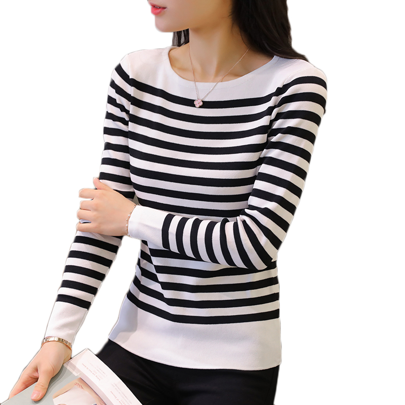 Winter Sweaters Ladies Pullover Jumper Tricot Pull-Femme High-Elastic Women Autumn Striped