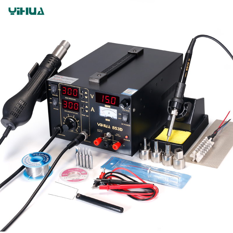 YIHUA 853D Soldering Iron Station With Hot Air Gun Rework Station DC Power Supply 3 In