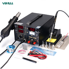 YIHUA 853D Soldering  Iron Station With Hot Air Gun Rework Station DC Power Supply 3 In 1 Soldering Tool  цена в Москве и Питере