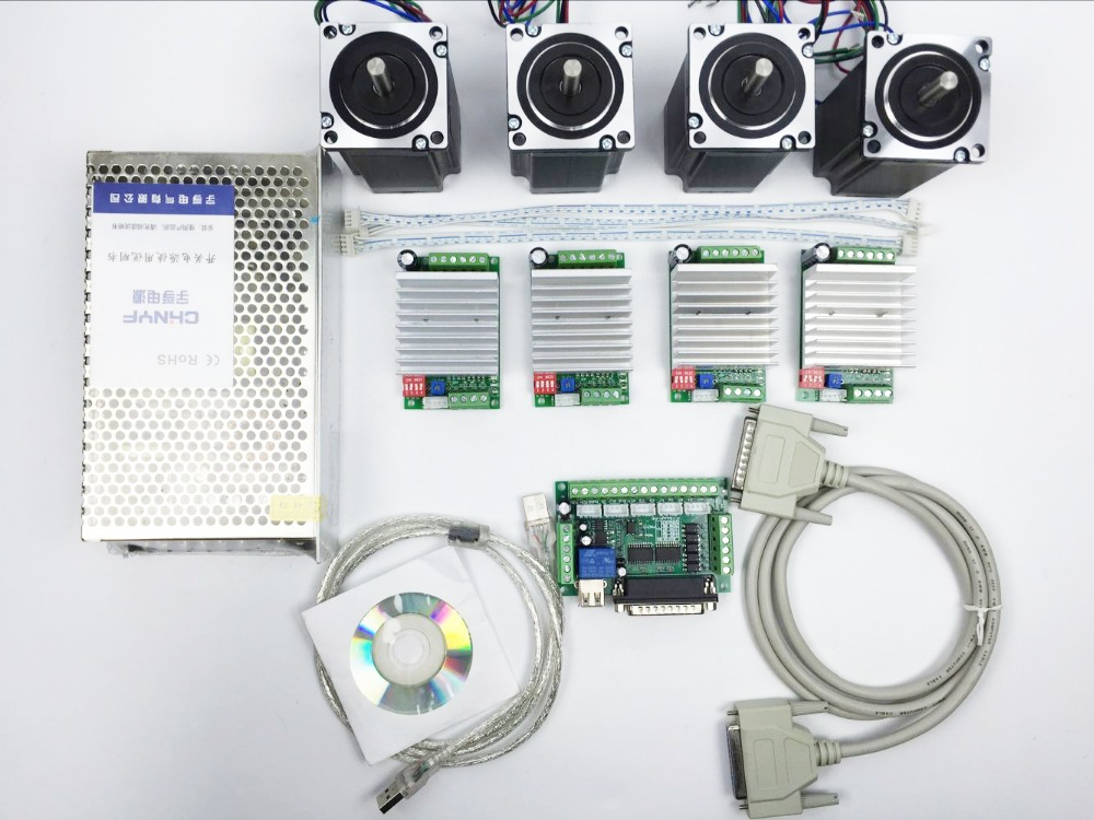 CNC Router Kit 4 Axis, 4pcs TB6600 4.5A stepper motor driver +4pcs Nema23 270 Oz-in motor+ 5 axis interface board+ power supply