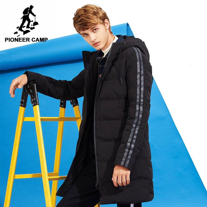 Acampamento pioneiro novo estilo de inverno grossa para baixo homens jaqueta de marca-roupas com capuz longo quente de pato branco para baixo casaco masculino qualidade AYR705109