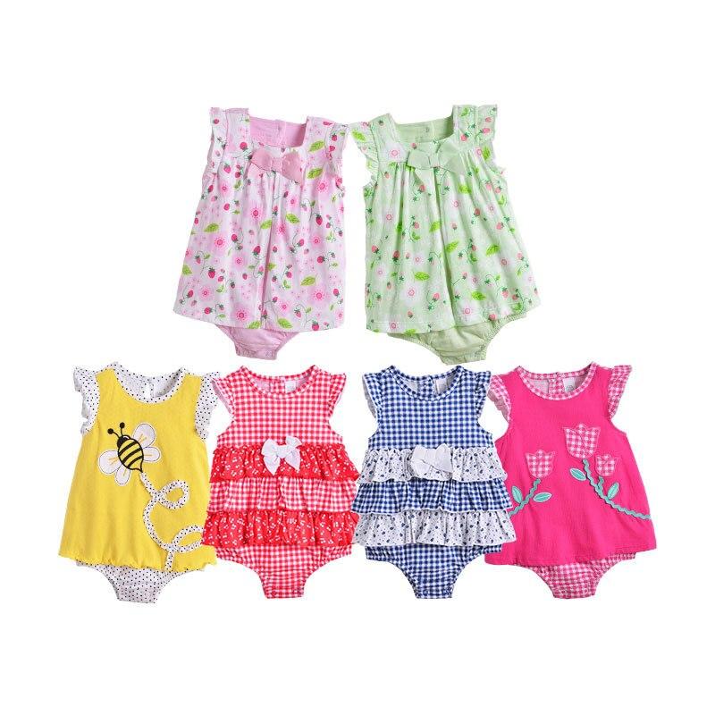 2018 baby girls dress summer style infants girls romper flower girls dress toddler baby dress party dress fruit flower style