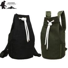 HIGHSEE Kapasiti besar Lelaki Kanvas Drawstring Backpack Kanvas Baldi Beg Beg Sukan Kecergasan Beg Wanita Rucksack Bag