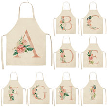 1 шт., Кухонные фартуки с розовыми буквами и цветами для женщин, хлопковые льняные нагрудники для домашней уборки, фартук для приготовления пищи, 53*65 см, Q0005