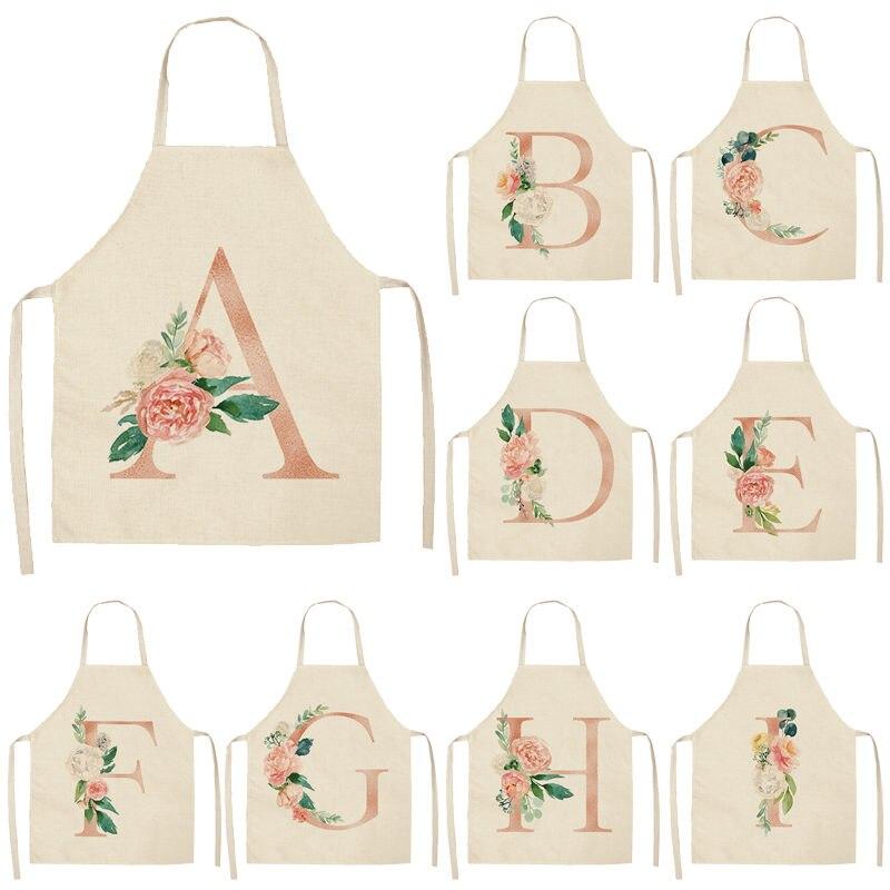 1 Uds. Delantales de cocina de flores con letra rosa para mujer, Baberos de lino de algodón para limpieza del hogar, delantal de cocina para el hogar 53*65cm Q0005