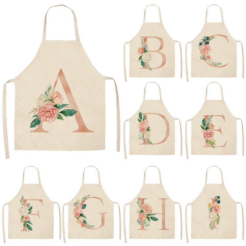 1Pcs Pink Letter Flower Kitchen Aprons For Women Cotton Linen Bibs Household Cleaning Pinafore Home Cooking Apron 53*65cm Q0005