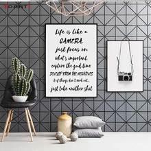 ملصقات مطبوعة بكاميرا سوداء اقتباسات للحياة الحديثة لوحات قماشية حروف اسكندنافية صور فنية جدارية لغرفة المعيشة ديكور منزلي