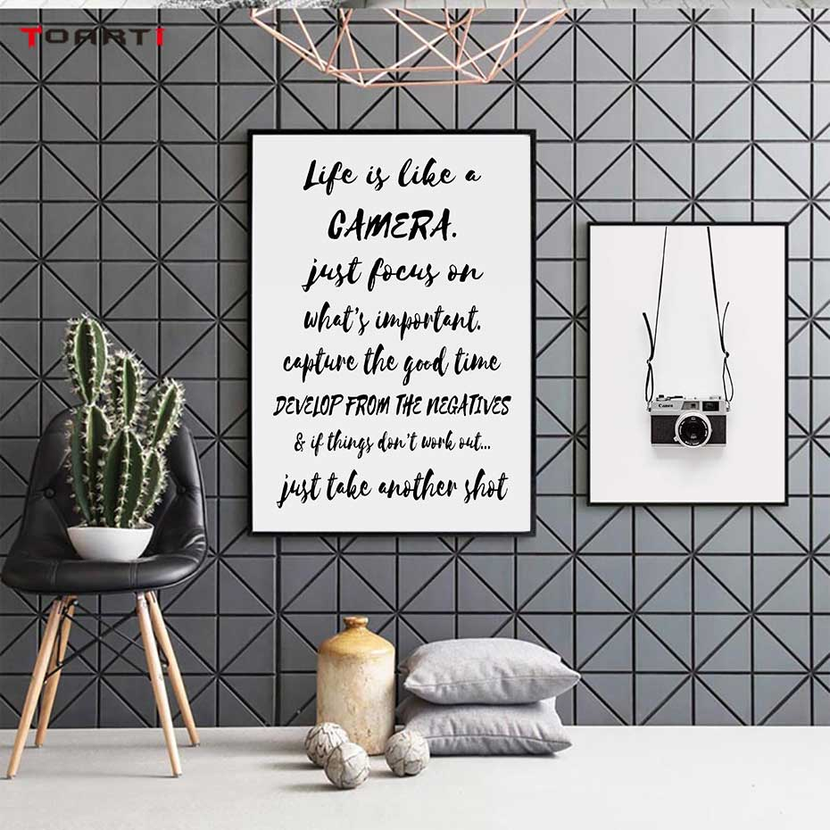 Black Camera Prints Posters Modern Life Quotes Canvas Painting Nordic Letters Wall Art Pictures For Living Room Home Decoration-in Painting & Calligraphy from Home & Garden