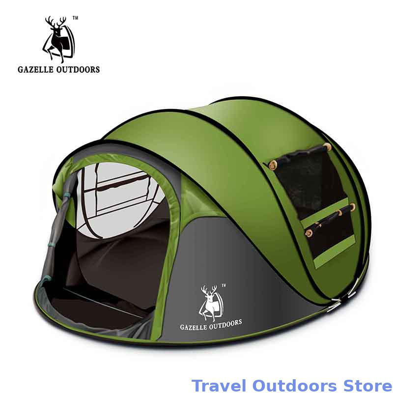 GAZELLE EXTÉRIEUR camping tente Grand space3-4persons automatique vitesse ouvert jeter pop up coupe-vent camping tente familiale