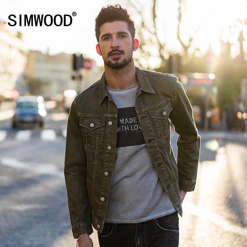 0a474ab0f36 SIMWOOD 2019 Весна джинсовая куртка Для мужчин Slim Fit пальто Модные Винтаж  брендовая одежда 100%