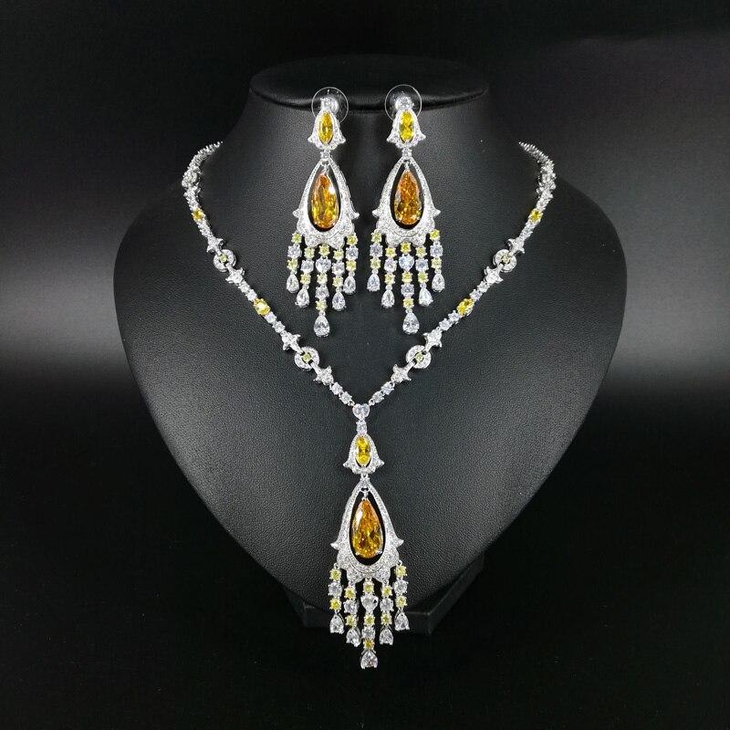 2019 nouvelle mode de luxe élégant populaire or gland zircon collier boucle d'oreille ensemble, mariage mariée dîner partie formelle bijoux ensemble