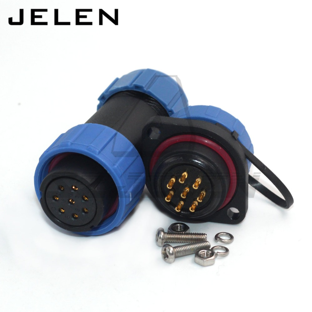 цена на SP21 8pin connector Waterproof IP68 cable plug receptacle flange round Waterproof Aviation connector