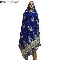 e4367f25441c1 Latest African Women Scarf Muslim Embroidery Scarf Big Flower Design Scarf  For Shawls Wraps 100 Cotton