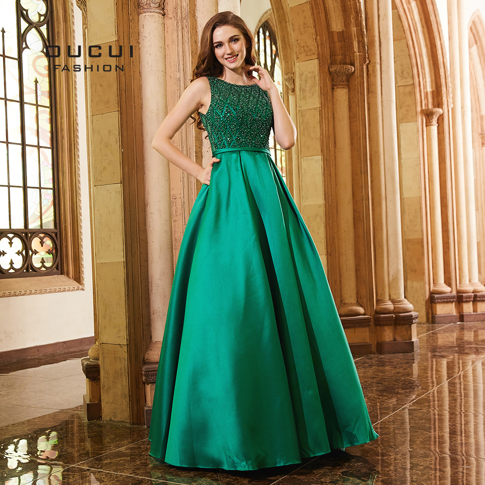 Abiye Green A-Line Gowns Long   Evening     Dresses   2019 For Women Party   Dress   Elegant Sexy V Backless Satin Vestido OL103271