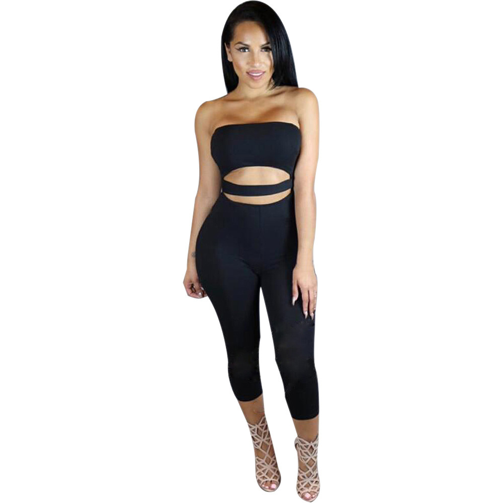 32af1af0b2e Women Sexy Jumpsuit 2017 Skinny Slim Solid Clubwear Sleeveless Bodycon High waist  Romper For Beach Club Evening Party Hot sale