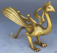 Chinese Brass Copper Fengshui God Animal Beast phoenix Exorcise evil Statue