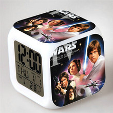 Hot Selling The Force Awakers Star War Digital Watch LED Alarm Clock 7 Color Changing Relogio De Mesa Wake Up Light Dropshipping