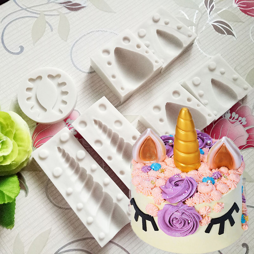 3D Unicorn Ear Eye Silicone Cake Mold Baking Tool Baby Birthday Fondant Sugarcraft Chocolate Mould Decor In Molds From Home Garden On