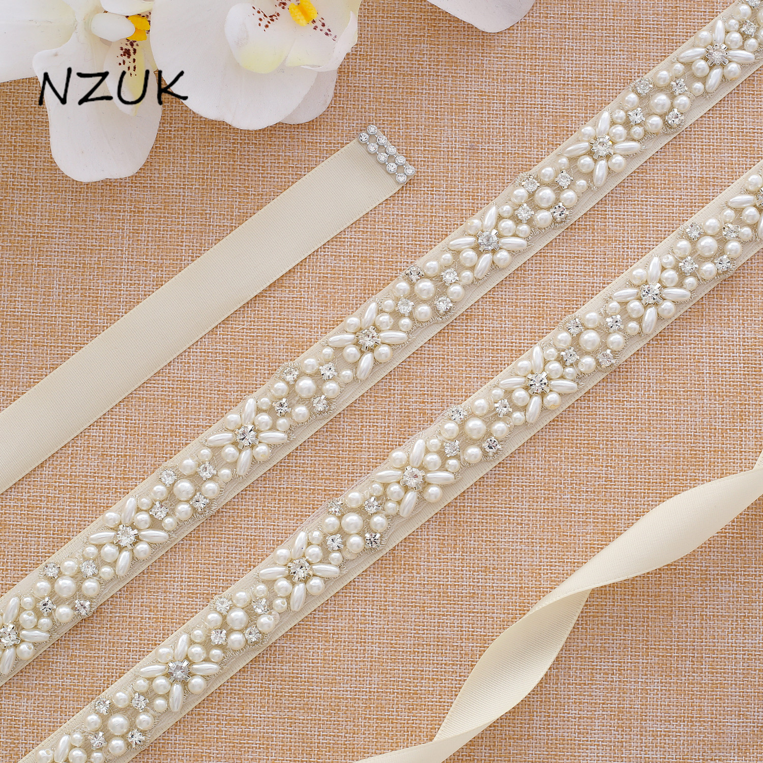 Crystal Bridal Sash Rhinestones Pearls Wedding Belt  Satin Bridal Belt And Sash For Wedding Decoration Y133S