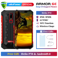 Ulefone Armor 6E Waterproof IP68 NFC Rugged Mobile Phone Helio P70 Otca core Android 9.0 4GB+64GB wireless charge Smartphone