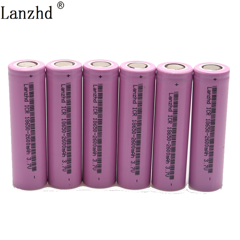 6PCS 18650 for samsung 18650 Battery 3.7v Rechargeable batteries 2600maH Li ion ICR18650 26F Battery image