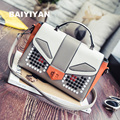 2016 Korean Version Of The Small Package Of The New Robot Bag Rivets Hit The Color Of Small Bags Personalized Shoulder Messenger