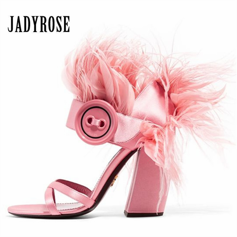 Jady Rose Fashion Feather Decor Women Sandals Ankle Strap Women Pumps 10CM Chunky High Heels Ladies
