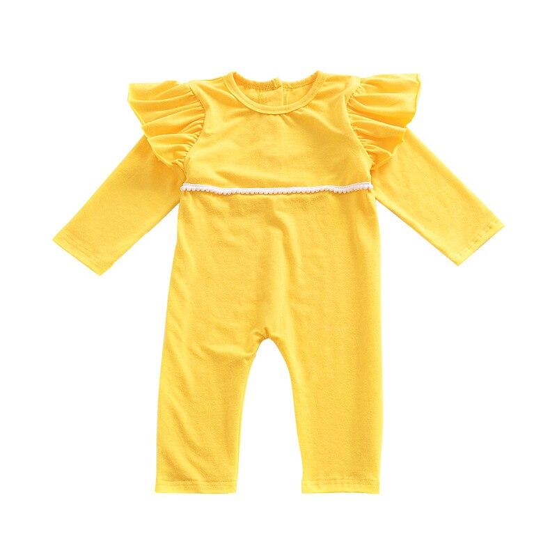2018 Baby Girl Romper Newborn Jumpsuit Toddler Romper Baby Jumpsuit Baby Long Sleeve Romper Flutter Sleeve Light Yellow Onesie