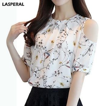 LASPERAL Fashion Women Summer Blouse Chiffon Floral Printed Blouse Shirt  Elegant Cold Shoulder Plus Size Tops Ladies Blusas blouse