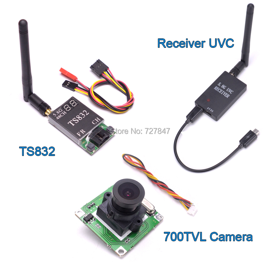 Mini 5.8G FPV Receiver UVC Video Downlink OTG + TS832 48Ch 5.8G 600mw Wireless Transmitter + 700TVL Camera for VR Android Phone fpv mini 5 8g 150ch mini fpv receiver uvc video downlink otg vr android phone